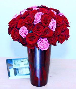 Livraison de Fleurs Roses combinées deluxe